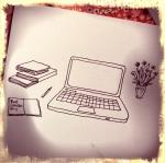 Zeichnung Bücher, Laptop, Blumen, privatliteratur